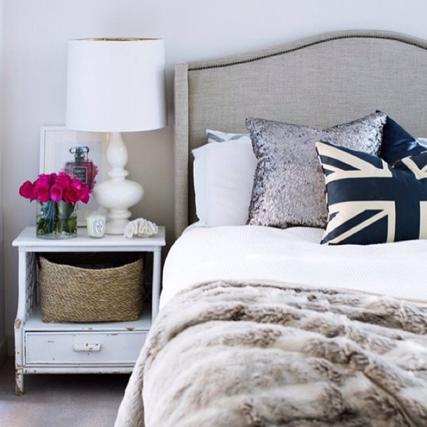 Decorative Cushions For Bed : Pajamas: bedroom, bedroom, tumblr bedroom, white, classic, home decor, bedding, union jack ...