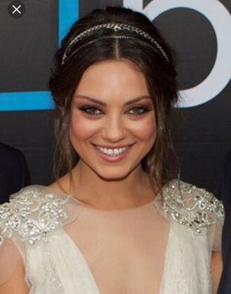 dress embellished gown prom mila kunis nude pale cream glamour embroidered