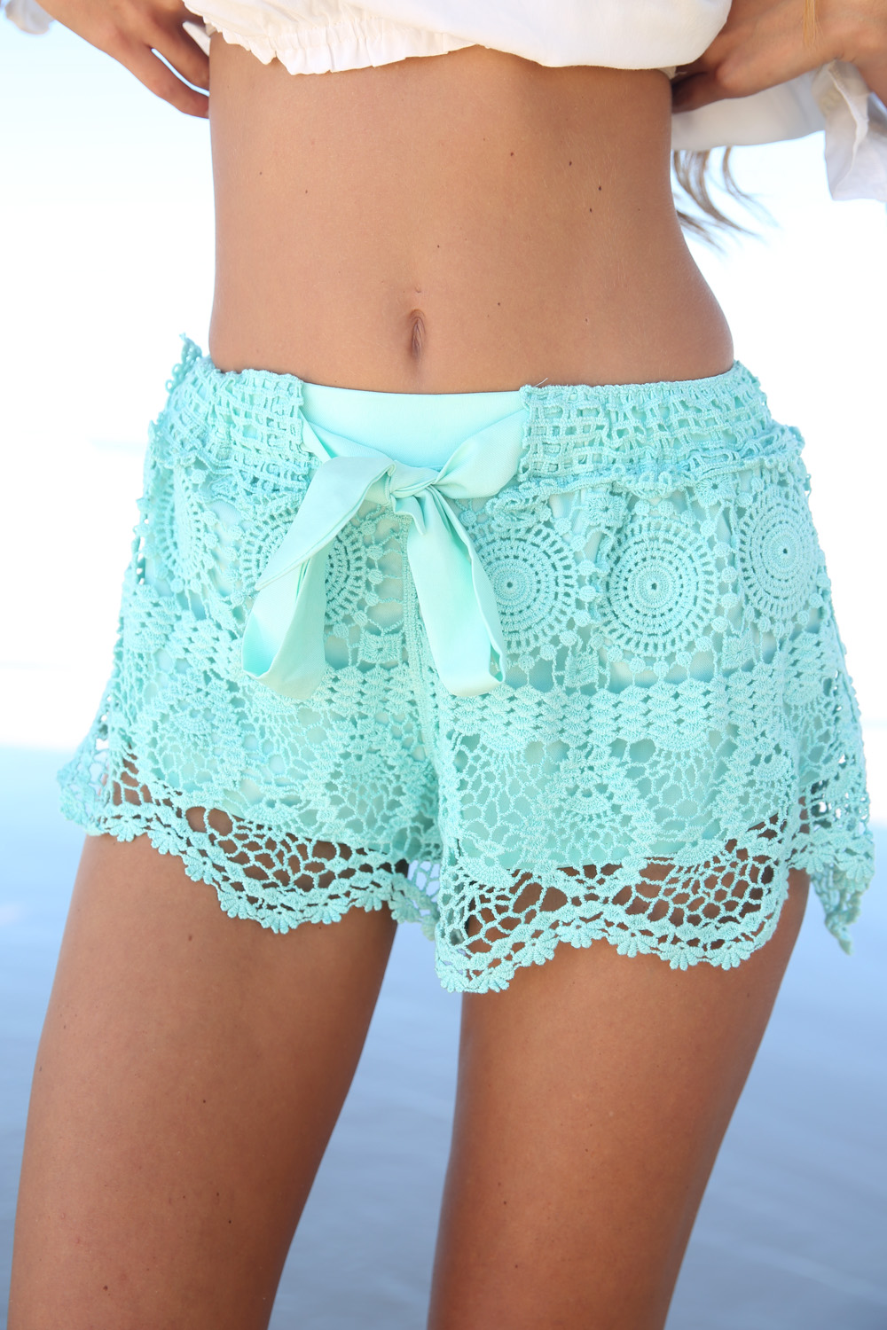 Multi Shorts - Mint Mid-Rise Crotchet Shorts | UsTrendy