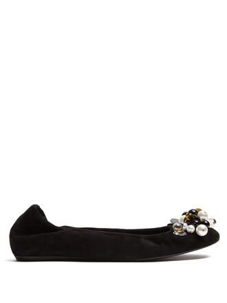 embellished flats suede black shoes