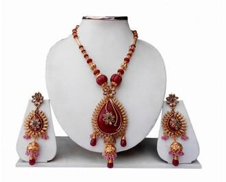jewels indian jewelry fancy pendant long necklace beaded earrings
