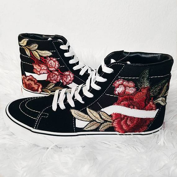 Custom black vans sk hi red rose w embroidered patch