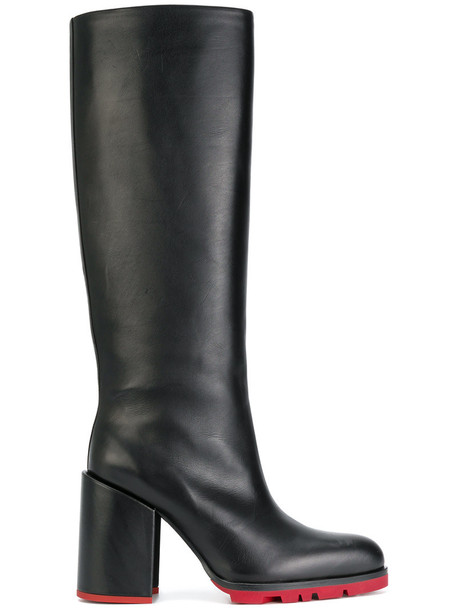 Jil Sander pointed boots women leather black shoes