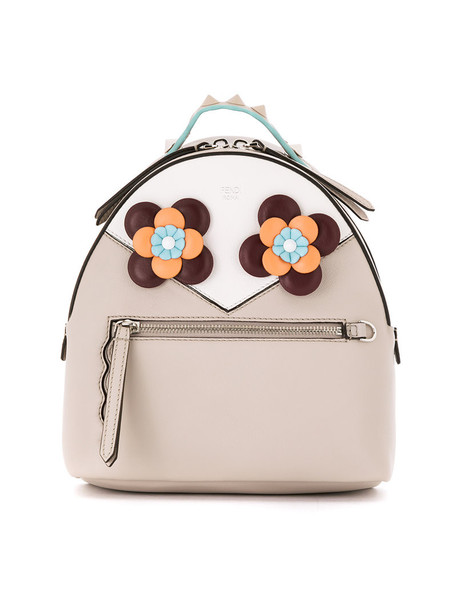 Fendi eyes women backpack floral leather nude bag