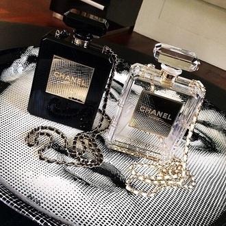 bag chanel perfume chanel no5 clutch chain clear transparent gold black bottle prom purse handbag
