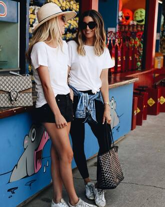 shorts black shorts black jeans tumblr denim denim shorts sneakers white sneakers t-shirt white t-shirt hat sun hat sunglasses jeans jacket bag shoes