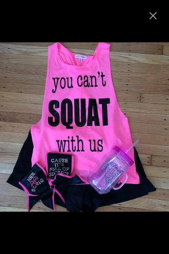 tank top neon pink top water bottle workout squats pink pink work out top sportswear