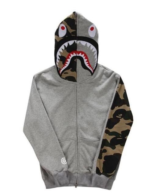 8723406169de JAPAN Men s bape Shark head Zip Hoodie Camouflage Sweater ...