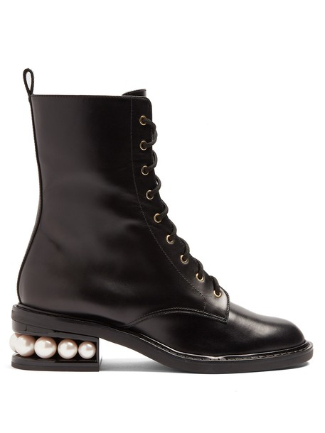 Nicholas Kirkwood heel boot pearl lace black shoes