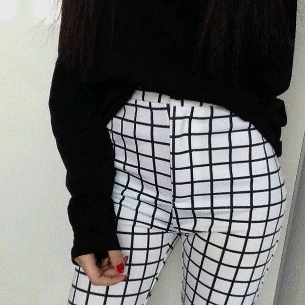 pants, grid, pants, pale, sweater, white, high waisted ...