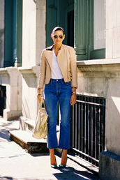 vanessa jackman,blogger,jacket,jeans,shoes,kick flare jeans,kick flare,blue jeans,top,white top,camel jacket,pumps,green pumps,bag,golden bag,sunglasses,aviator sunglasses,flare jeans,cropped bootcut jeans,cropped bootcut blue jeans