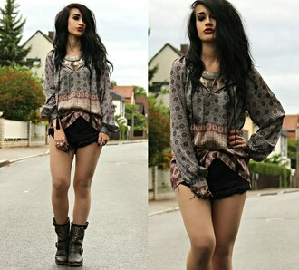 top boho pattern multicolor long sleeves baggy grunge