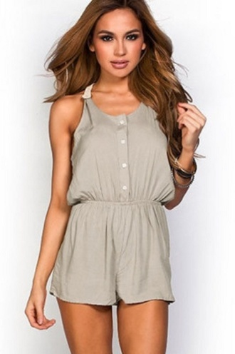 romper t back romper wots-hot-right-now button down taupe crochet cute rompers sexy rompers party romper