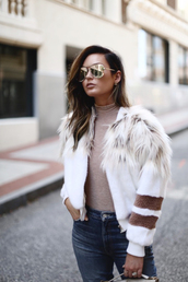 jacket,mirrored sunglasses,top,tumblr,white jacket,bomber jacket,fur jacket,faux fur jacket,sunglasses,nude top