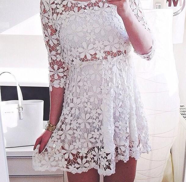 dress summer dress summer clothes white dress white tumblr clothes floral dress flower design see through dress medium sleeve dress