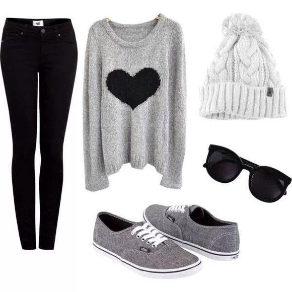 sweater grey grey sweater heart long sleeve hat
