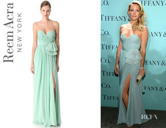 clothes dress tiffany blue seafoam reem acra designer blue dress light blue prom dress prom celebrity style long prom dress prom gown ruffle tube dress sweetheart dress kate hudson actress sexy classy classy dress blue prom promdress fancy evening dress lace fancy flowy light fashion model brand budget