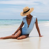 swimwear,beth richards,hat,baby blue,blue swimwear,one piece swimsuit,one piece,summer 2017,summer,beach,customized beach hat,straw hat,floppy hat,floppy straw hat,frilly,light blue,mytheresa