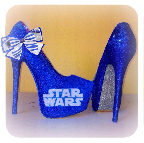 wars R2D2 blue silver girly bow high heel stiletto shoes HandMade