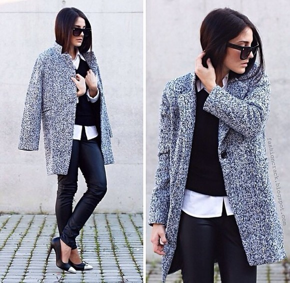 coat black coat smart casual the brunette cute grey, fluffy, cool, cute, 90s, goth, pastel goth, awesome pretty, elegant, gatsby, posh, white dress, jewels,