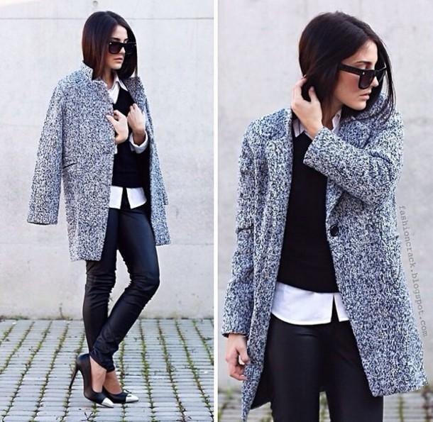 coat black coat smart casual the brunette cute grey pretty fluffy cool 90s style goth pastel goth elegant gatsby posh white dress jewels