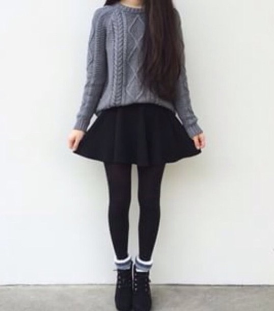sweater grey cold skirt black