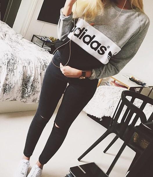 sweater adidas sweater adidas sweater grey black and white shirt adidas