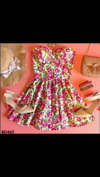 hat shoes dress flowery