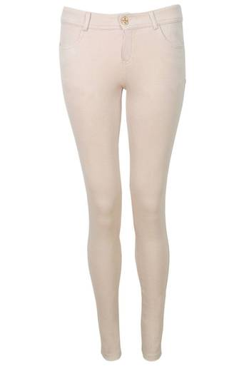 Cyrilla Jersey Skinny Trouser in Beige - Pop Couture