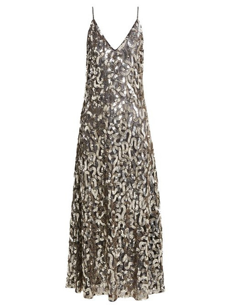 Givenchy - Sequined V Neck Cotton And Tulle Gown - Womens - Black Gold