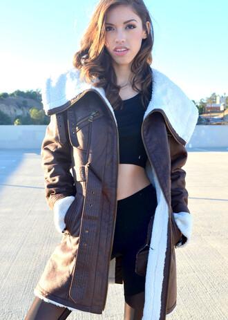 coat trench coat brown brown coat jacket warm coat suede suede coat shearling jacket