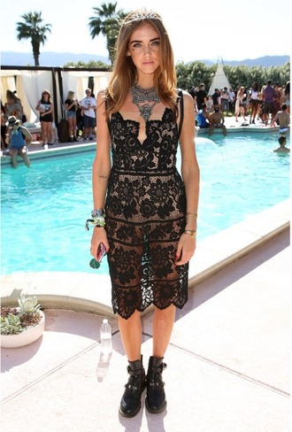 black dress festival lace dress black lace dress black lace statement necklace crown tiara chiara ferragni coachella black boots hair accessory jewels jewelry necklace chiara the blonde salad music festival