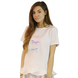 blouse marzia top t-shirt peplum ruffle bows ribbon bow pink white purple blue flare flair girl sweet dol cute doll adorable