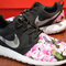 Free shipping -- nike roshe run black gamma azalea garden floral print v5 edition custom men