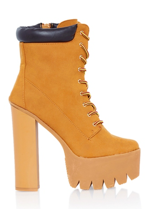 Rehab Construction Lace Up Platform Chunky Heel Boot in Camel (Pre-Order)