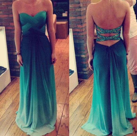 prom dress green wrap dress dress fashion girl maxi dress green dress mint sparkle lovely prom prom dress ombre dress ombre prom dresses ombre bleach dye blue dress long prom dresses beautiful long prom dress green prom criss cross open back bejeweled ombre chiffon pretty long dress blue green dress mermaid strapless sparkles floorlength