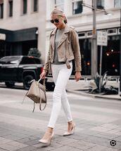 jacket,biker jacket,suede jacket,blouse,skinny jeans,white denim,pumps,handbag,sunglasses