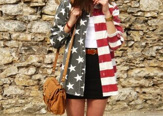 shirt american american flag flag denim denim shirt stripes red white blue jacket denim jacket clothes vest stars rayure jeans bag