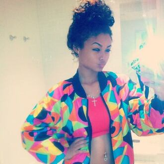 jacket colorful india westbrooks old school coat pink sports bra 90s style 90s jacket colorful 90s 90s vintage vintage curly hair natural curls bun belly piercing cross necklace lightskin vintage 90s jacket multicolor blue green yellow fashion style cute cute outfits crop tops jeans pants jewels hairstyles celebrity black girls killin it