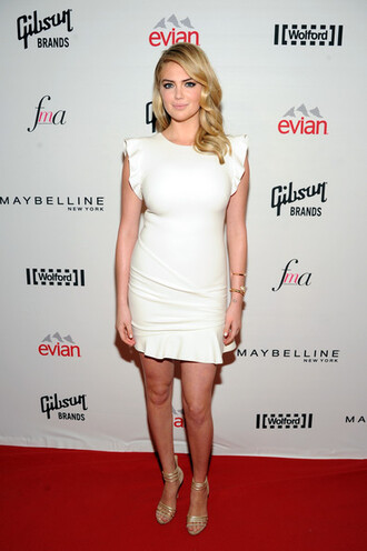dress white dress kate upton fashion week 2014 sandals high heels shoes