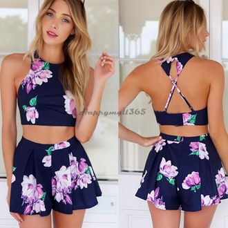 romper clothes shorts crop tops flowers