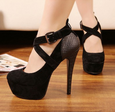 Platform Heels Closed Toe with Cross Straps