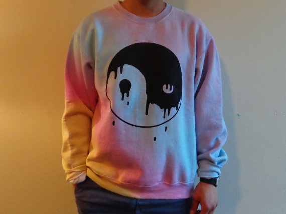 Drooling Yin Yang Gray and Pastel Sweatshirt by LUNCCHB0XX on Etsy