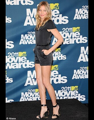 cameron diaz mtv movie awards black dress romper black playsuit dress