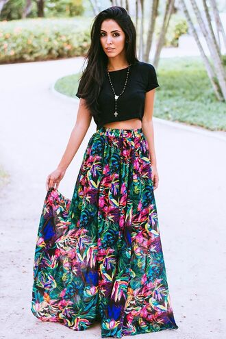skirt pink green blue black yellow multicolor flowy skirt pleated skirt maxi skirt high waisted skirt top colorful floral pretty cute cute skirt black crop top crop tops cute crop top cute shirt shirt
