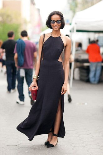 dress cut-out dress reformation reformation dress black dress black maxi dress maxi dress slit dress halter dress halter neck dress halter neck flats pointed flats black flats sunglasses streetstyle all black everything summer dress summer outfits summer black dress long dress sandals flat sandals black sandals