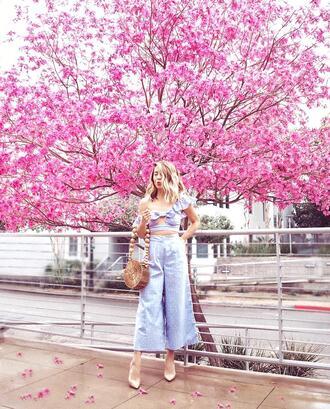 laminlouboutins blogger top bag shoes spring outfits cult gaia bag round bag pumps high heel pumps