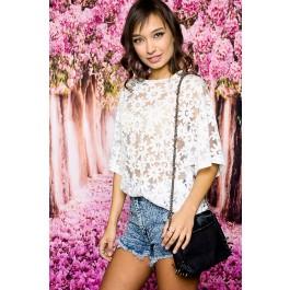 White daisy sheer blouse