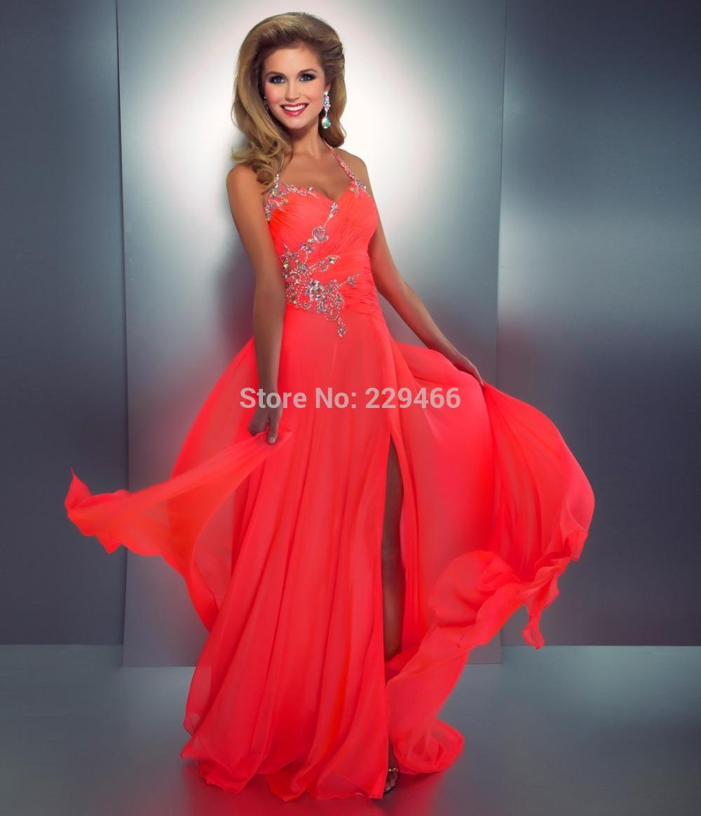 Neon Coral Short Formal Dresses