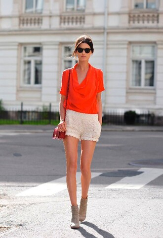 lace shorts silk top booties hanneli orange shirt brown shirt white shirt shirt